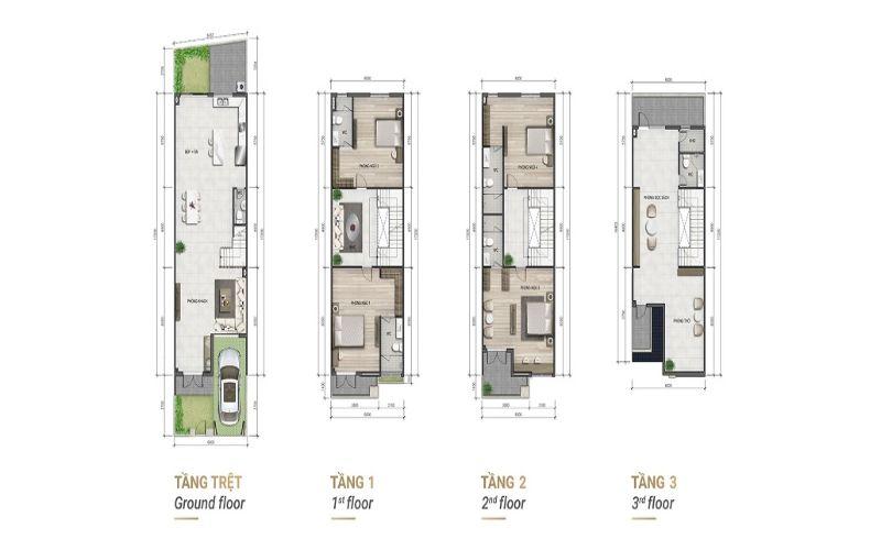 Mặt bằng thiết kế nhà liên kế 4 tầng