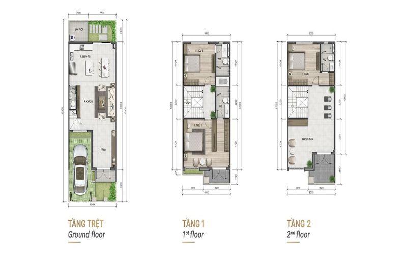 Mặt bằng thiết kế nhà liên kế 3 tầng