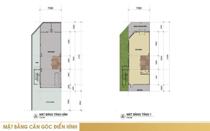 Mặt bằng căn góc điển hình tầng hầm + tầng 1