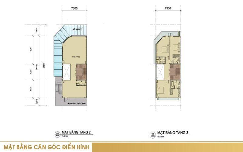 Mặt bằng căn góc điển hình tầng 2 + tầng 3