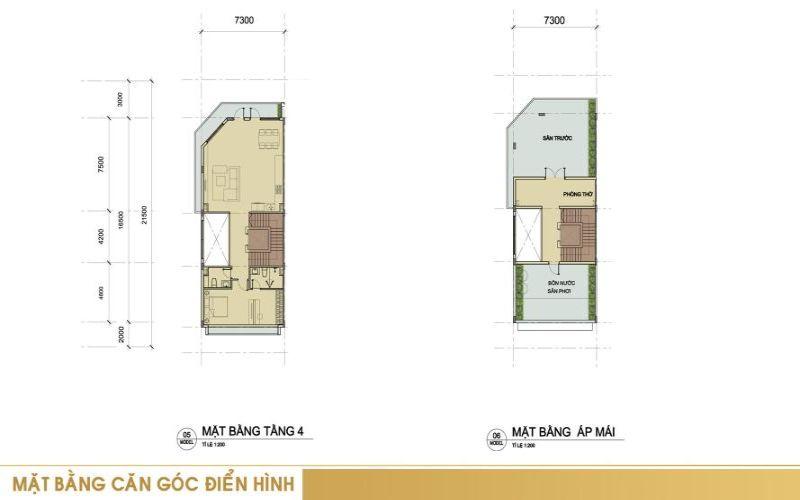 Mặt bằng căn góc điển hình tầng 4 + tầng áp mái