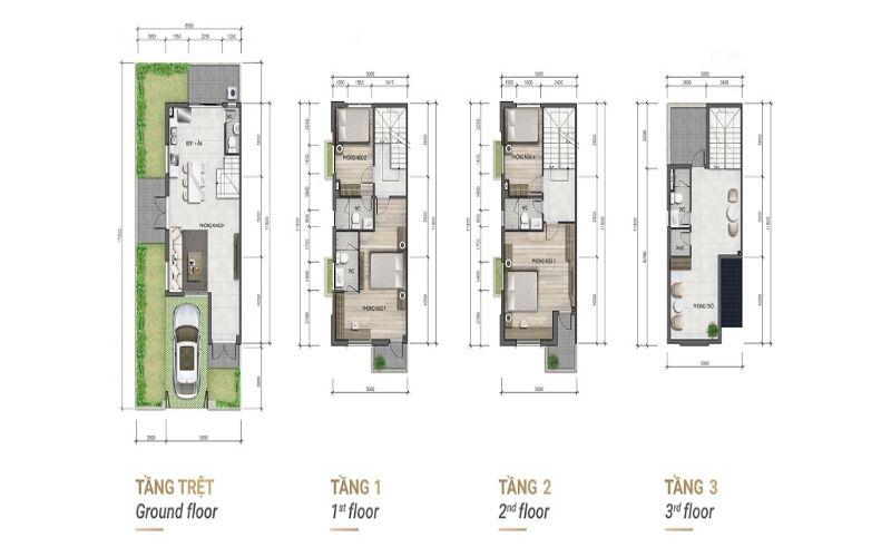 Mặt bằng thiết kế nhà liên kế góc 4 tầng